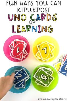 This blog posts includes 10 awesome ways you can use a set of UNO cards for learning, as well. most of these activities work with a standard deck of cards too if you don't have access to UNO cards. Included are activities suitable for all ages. #rainbowskycreations Kids Learning Activities, Student Learning, Fun Learning, Number Activities, Efl Teaching, Teaching Ideas, Early Years Maths, Uno Cards, Professional Development For Teachers