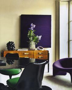 rich purple + emerald green + black + wood