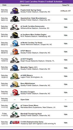 East Carolina Pirates Football Team 2012 Schedule