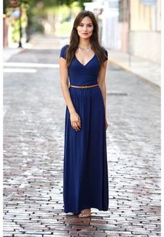 Dark Blue Maxi Dress with Cap Sleeves