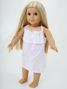 Pretty white cotton nightdress for your 18 inch doll such as American Girl , from British Brand Frilly Lily. www.frillylily.co.uk