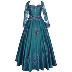 Peacock Blue Silk Gown ($685) ❤ liked on Polyvore featuring dresses, gowns, silk gown, beaded evening gowns, fitted flared dress, flare sleeve dress and flared sleeve dress