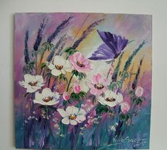 Meadow Impression IMPASTO Original Oil Painting Butterfly Flower EU Artist Board #Impressionism