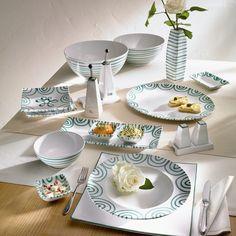 "Gmundner Keramik ""Grün geflammt"" Box Container, Tiered Cakes, Tea Cups, Plates, Dishes, Teller, Tableware, Celebration, Style"