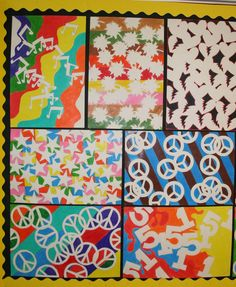 """The students are asked to choose a simple shape and create a pattern of that shape to trace onto the paper. The students are told to overlap the shapes to create interesting negative shapes. Then they erase the lines where the shapes overlap.  After they complete their composition, they add color to the background with colored pencils."""