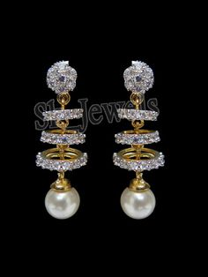1.56ct DIAMOND, SAPPHIRE & PEARL 14k YELLOW GOLD DANGLER EARRINGS #sk_jewels #DropDangle
