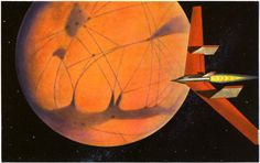 siryl:  Winged Mars Rocket by James Heugh an illustration for Rockets Through Space by Lester del Rey (the only nonfiction title in the Winston Science Fiction Series).