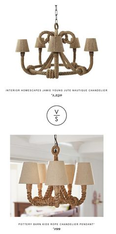 @inthomescapes Jamie Young Jute Nautique Chandelier $1,250 Vs @potterybarnkids Rope Chandelier Pendant* $199