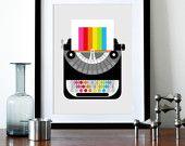 Rainbow typewriter poster print - Rainbow Writer A3 - Mid Century Modern office retro