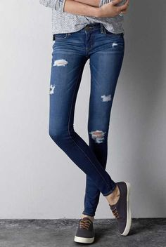 AEO Jegging in Dark Destroy. The look & feel of timeworn, tried & true denim.