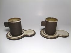Vintage Stoneware Espresso Cups and Plates, Drip Glaze, Home Decor, Collectible by TheRoseGardenVintage on Etsy