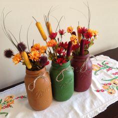 Fall Distressed Mason Jar Floral by MulberryMadeCrafts on Etsy Diy Jars, Mason Jar Crafts, Mason Jar Diy, Distressed Mason Jars, Fall Decorations, Fall Crafts, Handmade Crafts, Floral Arrangements, Quilting