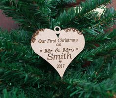 Personalised Bauble Wooden Our First Christmas, Mr & Mrs Heart Decoration, MDF