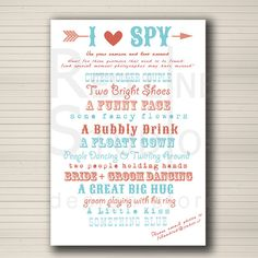 I spy wedding activity. Wedding game. PRINTABLE. by redlinecs, €12.00