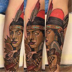 Native American Tattoo by Piotr Gie NeoTraditional NeoTraditionalArtist NeoTraditionalTattoos ModernTattoos BoldTattoos PiotrGie