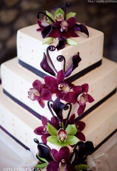 Purple and green orchid wedding cake