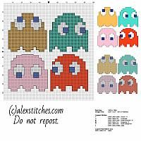 Four Pac Man enemies Blinky Inky Pinky Clyde free cross stitch pattern
