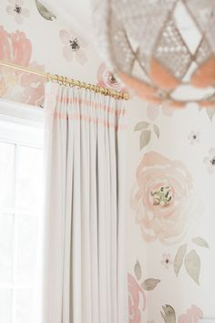 Click here to buy Monika's Nursery Drapery featuring our House Linen top tack panels in colour Winter White with double pink ribbon leading edge and header trim. http://www.qdesigncentre.com/store/product/monikas-nursery