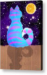 Moon Cat Painting by Nick Gustafson - Moon Cat Fine Art Prints and Posters for Sale