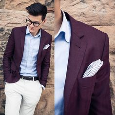 Indochino Burgundy Herringbone Blazer, Calvin Klein Gray Pants, Michael Kors Cordovan Belt, The Tie Bar Seersucker Pocket Square
