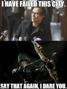 I waa thinking of arrow when he said and I was like they made a reference you sly people