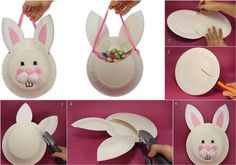 DIY Easter Bunny Bag Using Paper Plates - Find Fun Art Projects to Do at Home and Arts and Crafts Ideas