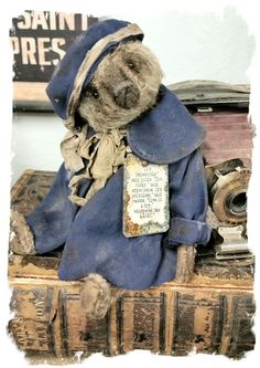 "Image of MEDIUM size 9.5"" Mohair Bear Vintage Dolly Coat, Hat & Inspirational Charm* By Whendi's Bears"
