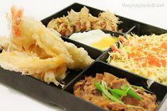 Kin Bento -- gyu, ebi tempura, kani salad, takoyaki and fried egg, from Moshi Moshi