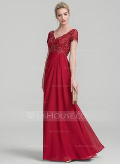 A-Line/Princess V-neck Floor-Length Ruffle Beading Zipper Up Sleeves Short Sleeves No Burgundy General Plus Chiffon Lace Mother of the Bride Dress Mob Dresses, Event Dresses, Wedding Party Dresses, Bridesmaid Dresses, Bride Dresses, Vestidos Fashion, Fashion Dresses, Vestidos Mob, Ruffle Beading