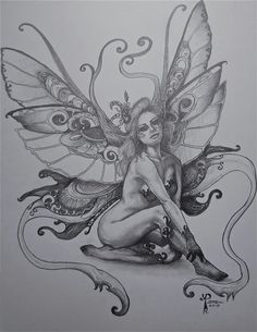 Fairy Coloring Pages, Free Adult Coloring Pages, Fairy Wing Tattoos, Floral Thigh Tattoos, Fairy Drawings, Fairy Tattoo Designs, Fairy Pictures, Airbrush Art, Fantasy Art