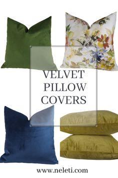 Velvet Pillow Covers Handmade Pillow Covers, Decorative Pillow Covers, Throw Pillow Covers, Throw Pillows, Green Velvet Pillow, Velvet Pillows, Cushion Covers, Pillow Inserts, Living Room Decor