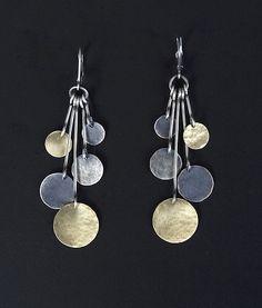 """Hammered Multi-Disk Drop Earrings"" Gold & Silver Earrings  Created by Lisa Crowder"