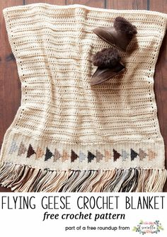Crochet this easy flying geese quilt southwest afghan blanket throw with fringe from my 12 coziest crochet afghans free pattern roundup!