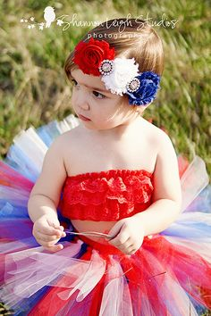 Sweet Americana Tutu Fourth Of July Tutu From The Sweet Elegance Collection With Matching Vintage Style Flower Headband Stunning Photo Prop. via Etsy.