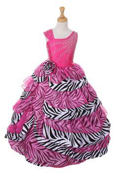 Fuchsia Dazzling Rhinestone Taffeta and Organza Dress with Zebra Print Accents B4010-FU $79.95 on www.GirlsDressLine.Com