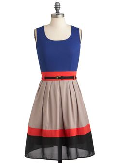 Par for the Courses Dress - Mid-length, Sheer, Red, Blue, Tan / Cream, Black, Belted, Party, Colorblocking, A-line, Tank top (2 thick straps), Fall