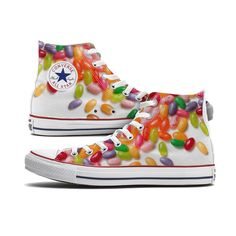 These Jelly Beans Converse High Top Custom Chucks are made to order especially for you and feature a scattered jelly bean pattern on both the inside and outside panels of each shoe. Please note, each
