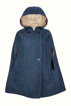 735f44f8129091 ... in the perfect wardrobe staple for Autumn through Spring, and add some  swoosh to your strut. This luxurious vintage-style Navy cape in Harris Tweed  is a ...