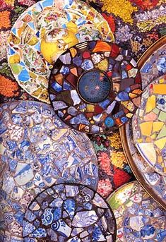 """Mosaics of Zev Harris  -  """"Zev built his whimsical palace of a house on a sand dune in California in the 1940's and it contained walls that used colored wine bottles instead of bricks, and a floor of up-ended blocks of wood in a variety of shapes."""" Kaffe Fassett, designer from Britain, recalls."""