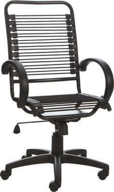 cushy job.  Bungee-style cords, a gas lift, rolling casters and a swivel spin make this executive chair worth the ride to the top.  Strong elastic black cords give firm, cushioned support and lessen fatigue.  Black-on-black cords, powdercoated steel frame, casters and neoprene detailing mean business. Black powdercoated steel frameNylon elastic cord seat and backGas lifting mechanismFoam armrestsSwivels 360; rolls on five castersDust with soft, dry clothMade in Taiwan.