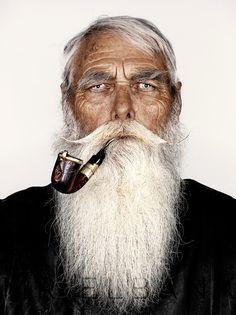 Frank Moon Sporting his Grand-Father's 1901 Boar War pipe.. And Capt Fawcett's Beard Oil & Moustache Wax..  photo: Mr Elbank (mrelbank.tumblr.com)