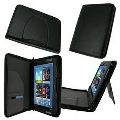 Amazon.com: rooCASE Executive Portfolio (Black) Leather Case Cover for Samsung GALAXY Note 10.1 N8000 N8010 - Support Landscape / Portrait View (NOT Compatible with Galaxy Tab 2 10.1): Computers & Accessories