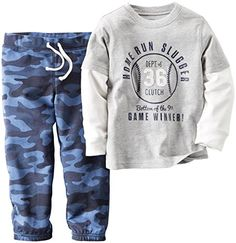 Carters Baby Boys 2 Piece Graphic 2Fer Set Baby  Homerun Slugger  6M >>> For more information, visit image link.Note:It is affiliate link to Amazon.