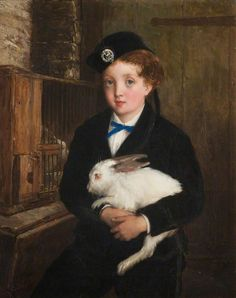 William Oliver (1823-1901) — Girl Holding a Rabbit  (746x944)