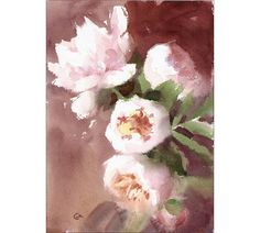 Original Watercolor Painting of White Peonies 8 x 11 inches