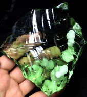 297g Authentic green Obsidian Volcanic Natural raw green Glass stone B93