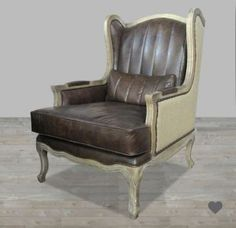 Brown Leather Armchair with Burlap