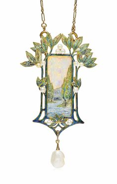 AN ART NOUVEAU OPAL, ENAMEL AND PEARL PENDENT NECKLACE, BY GEORGES FOUQUET Modelled as a rural landscape, the enamel river and trees underneath an opal sky, to the enamel foliate surround with seed pearl accents, suspending a baroque pearl, circa 1900, pendant 8.5 cm, chain 66.0 cm, with French assay marks for gold Signed G. Fouquet, no. 10399