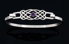 Celtic Knot Bangle with Amethyst