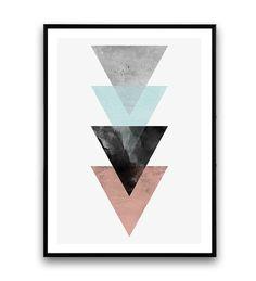 Dreiecke zu drucken Aquarell Druck Poster Wandkunst von Wallzilla